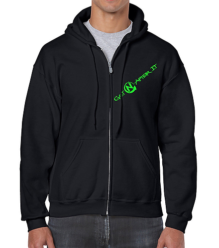 Men's Black Zip Hoodie, green logo