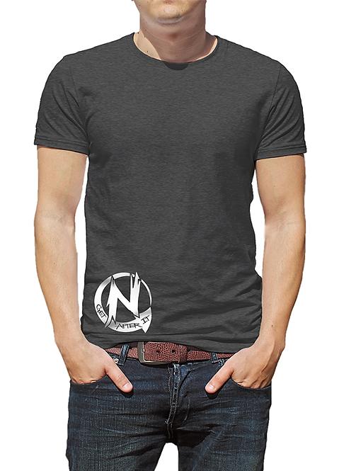 Men's Grey Tri-blend T-shirt, White Circle N logo