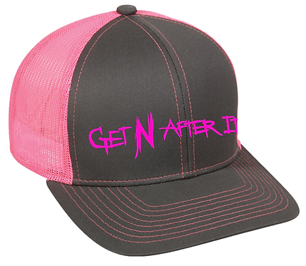 Platinum Series Charcoal and Neon Pink Outdoor Cap, Pink logo
