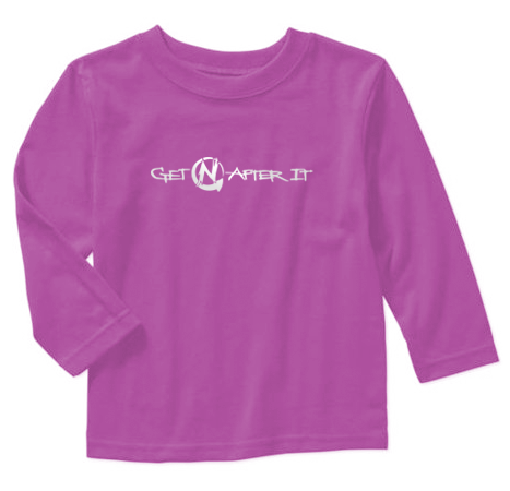 Toddler's Purple Long-sleeved T-shirt, Pearlized White logo