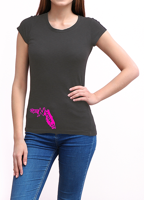Women's Grey T-shirt, Pink Florida logo