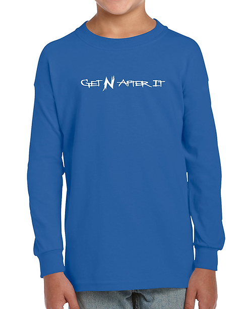 Youth Blue Long-sleeved T-shirt, Pearlized White logo