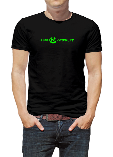 Men's Black T-shirt, Green logo