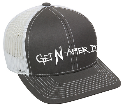 Platinum Series Charcoal and White Outdoor Cap, Pearlized White logo