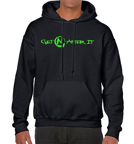 Men's Black Hoodie, Green logo