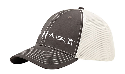 Charcoal/White Mega Flex Brushed Cotton Cap, Pearlized White logo