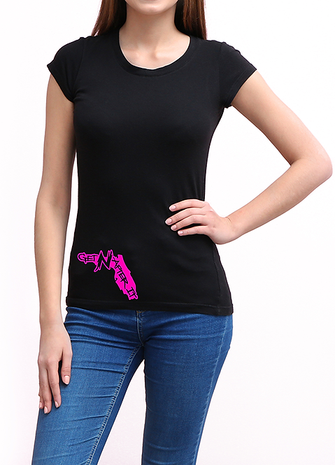 Women's Black T-shirt, Pink Florida logo