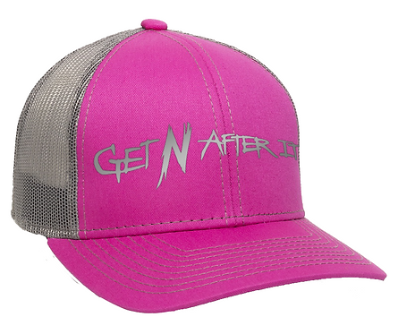 Fuchsia and Charcoal Outdoor Cap, Pink logo