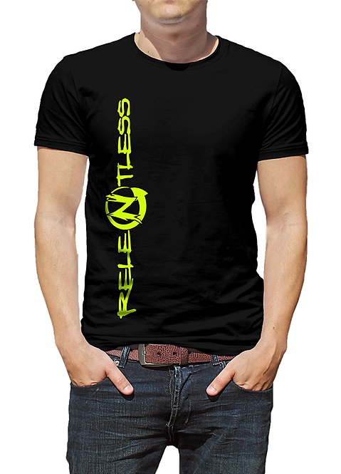 Men's Black T-shirt, ReleNtless logo