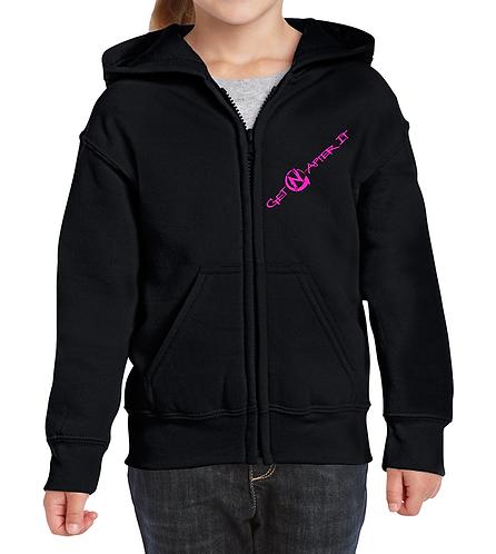 Youth Black Zip Hoodie, pink logo