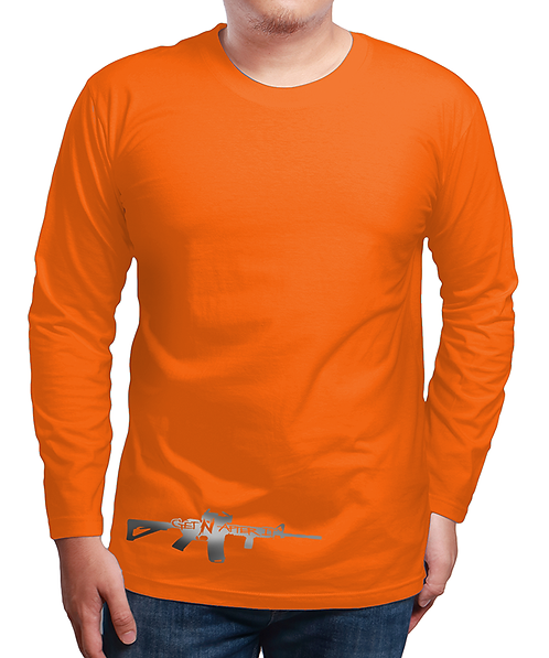 Men's Orange Long-sleeved Shirt, Silver Gun logo