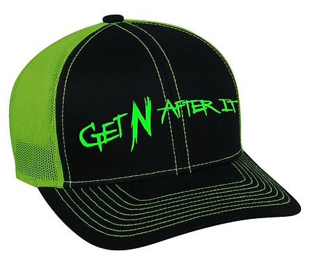 Black and Neon Green Outdoor Cap, Green logo