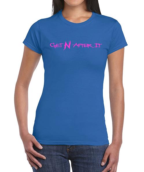 Women's Blue T-shirt, Pink logo