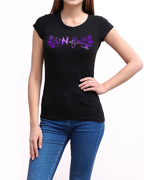 Women's Black T-shirt, Purple Rose logo