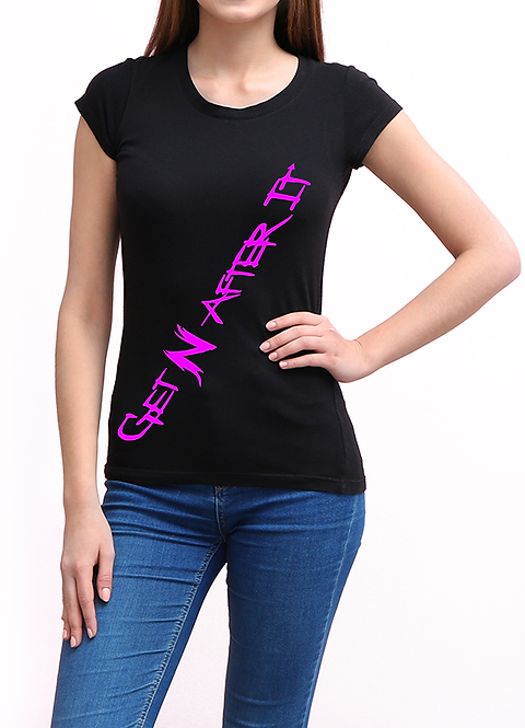 Women's Black T-shirt, Pink logo