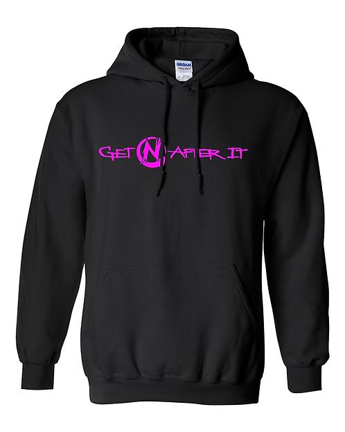Women's Black Hoodie, pink logo