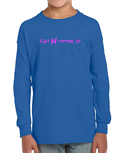 Youth Blue Long-sleeved T-shirt, Pink logo