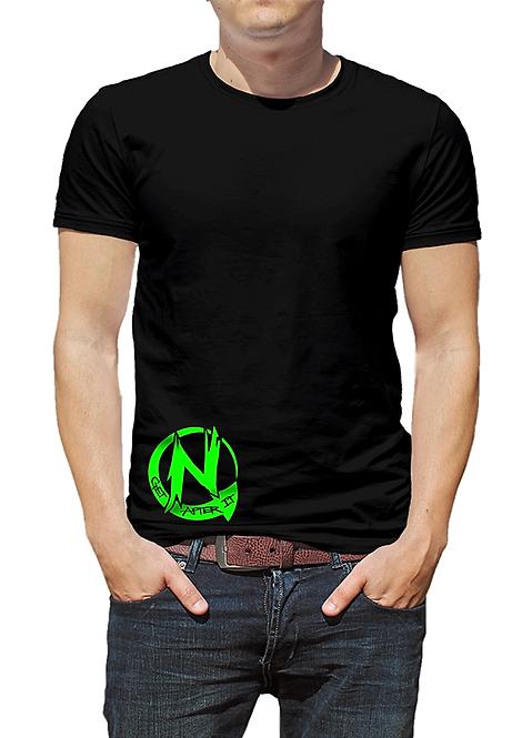 Men's Black T-shirt, Green Circle N logo