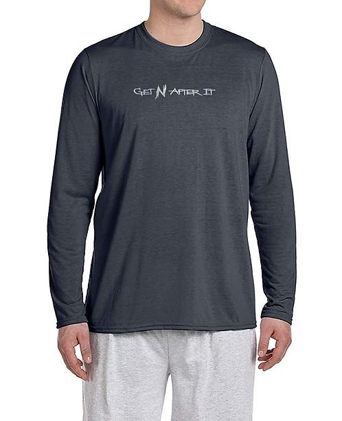 Men's Charcoal Long-sleeved Shirt, Silver logo