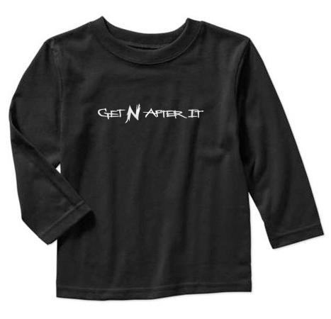 Toddler's Black Long-sleeved T-shirt, Pearlized White logo