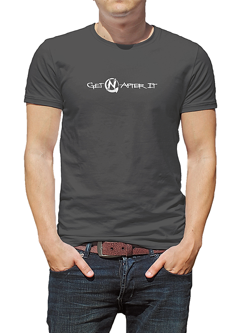 Men's Grey T-shirt, Pearlized White logo