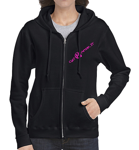 Women's Black Zip Hoodie, pink logo