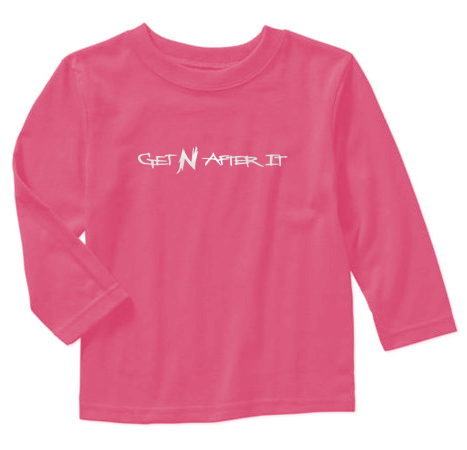 Toddler's Pink Long-sleeved T-shirt, Pearlized White logo