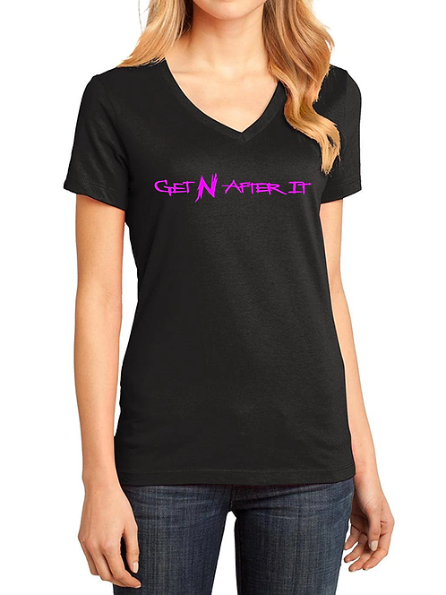 Women's V-neck Black T-shirt, Pink logo