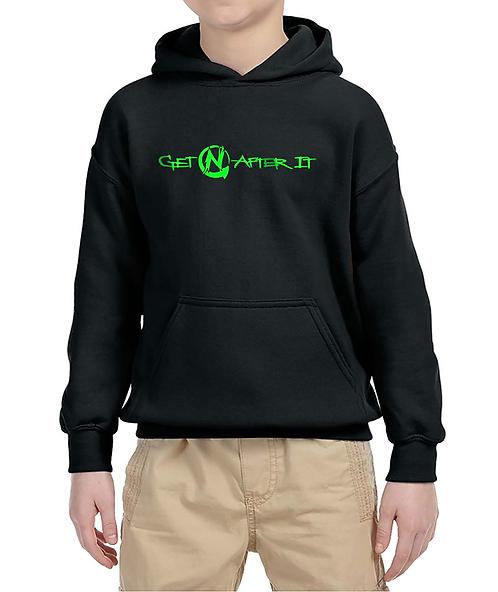 Youth Black Hoodie, green logo