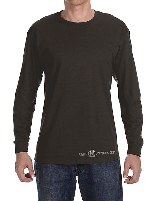 Men's Grey Long-sleeved Shirt, Silver logo at bottom