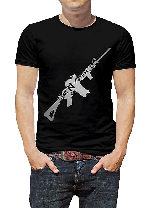 Men's Black T-shirt, Gun logo