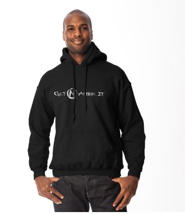 Men's Black Hoodie, silver logo