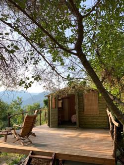 La cabaña vista desde el bosque
