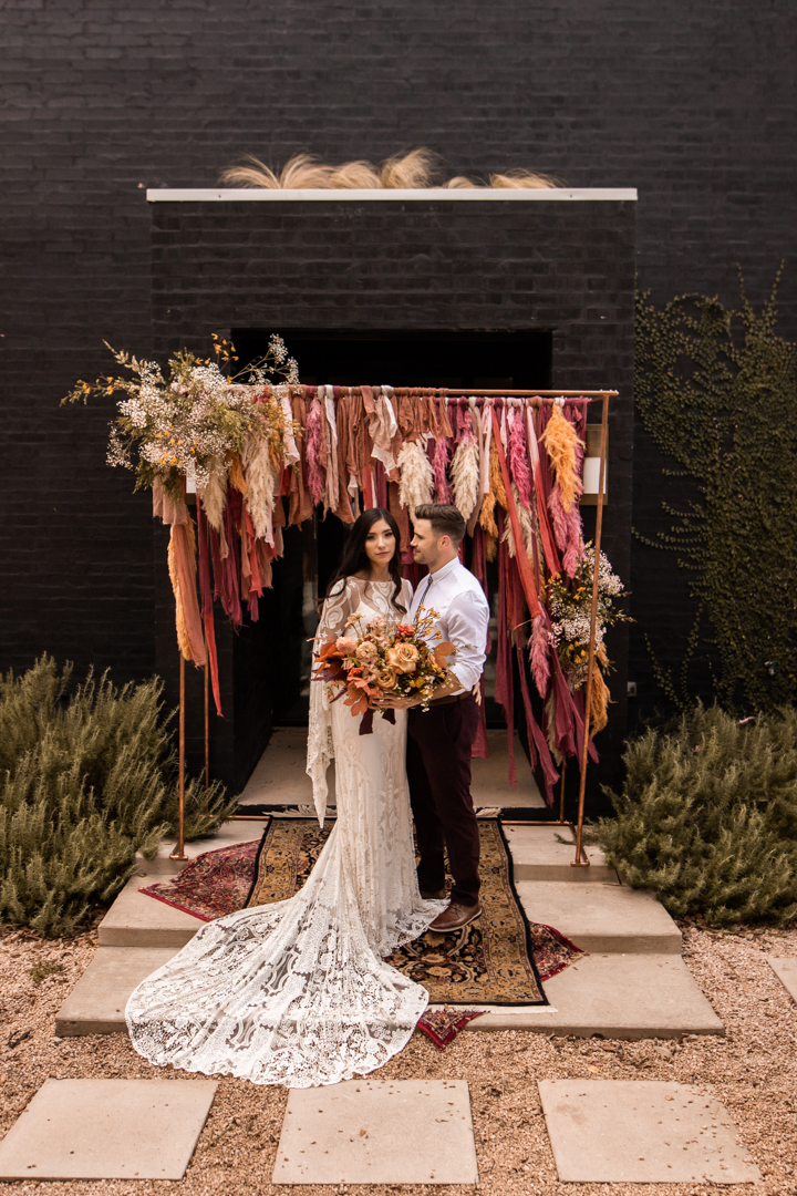 Bride and groom portraits on their wedding day in texas