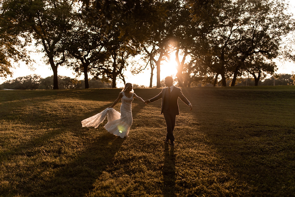 Bride and groom exploring the texas hill country on their wedding day