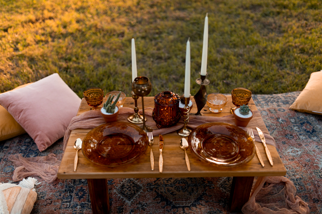 An intimate picnic setup for a bride and groom on their elopement day - texas elopement photographer