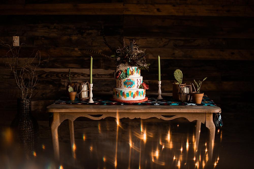 Wedding cake table Southwestern inspired wedding cake