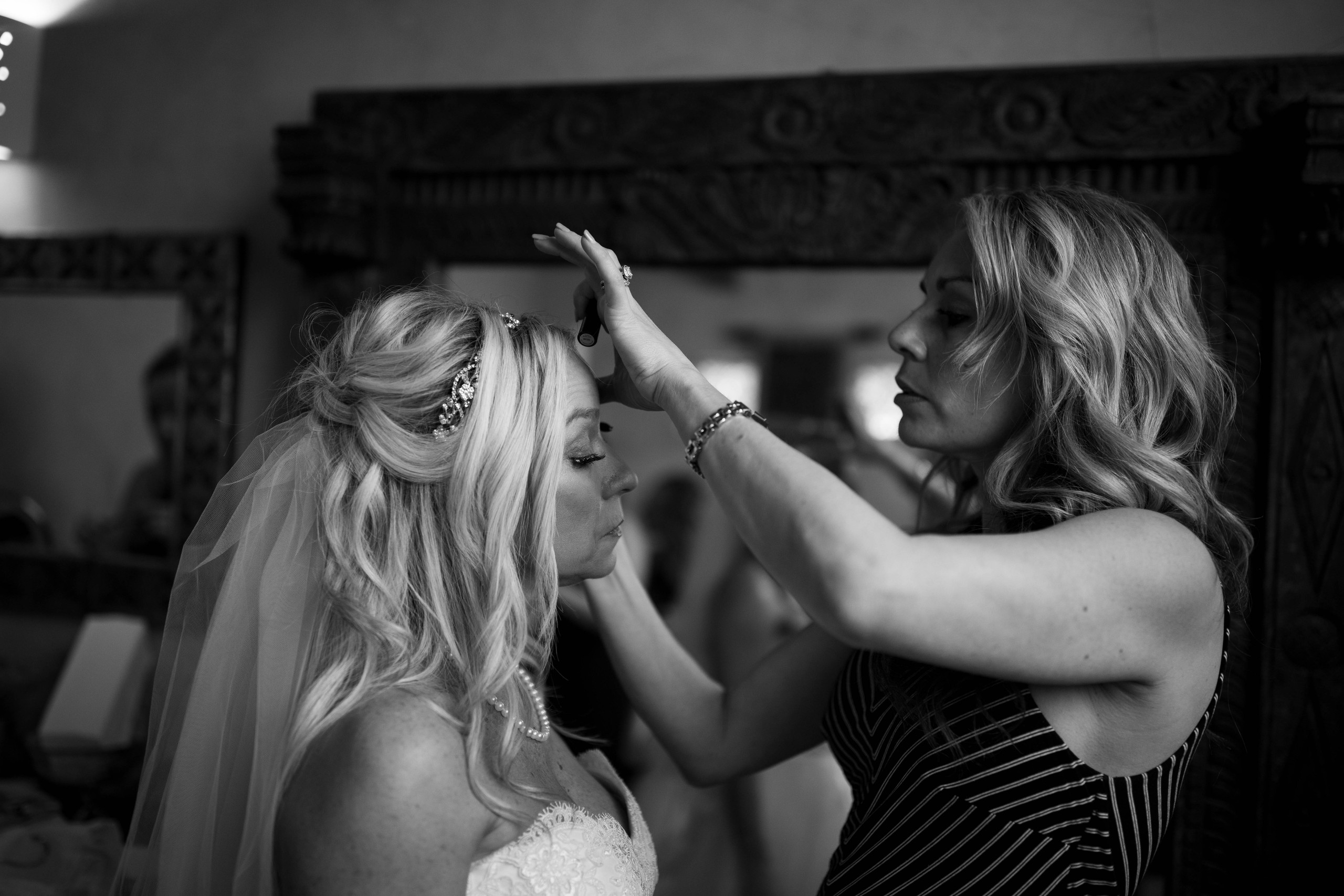 Bride getting ready Chapel Dulcinea Bridal Suite