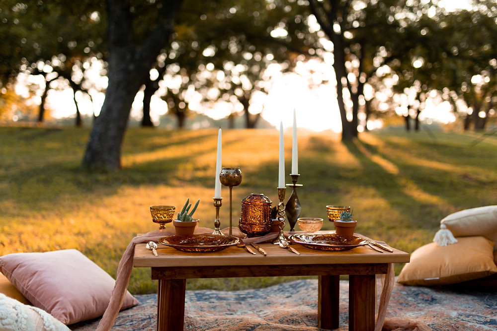 An elopement picnic at sunset