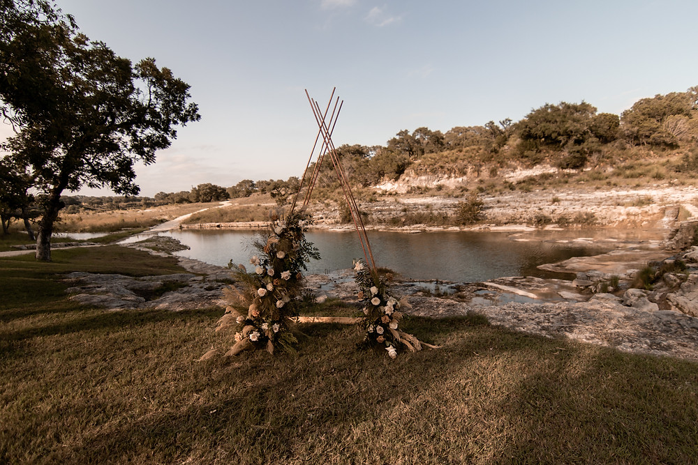 A elopement friendly ceremony arch in the texas hill country