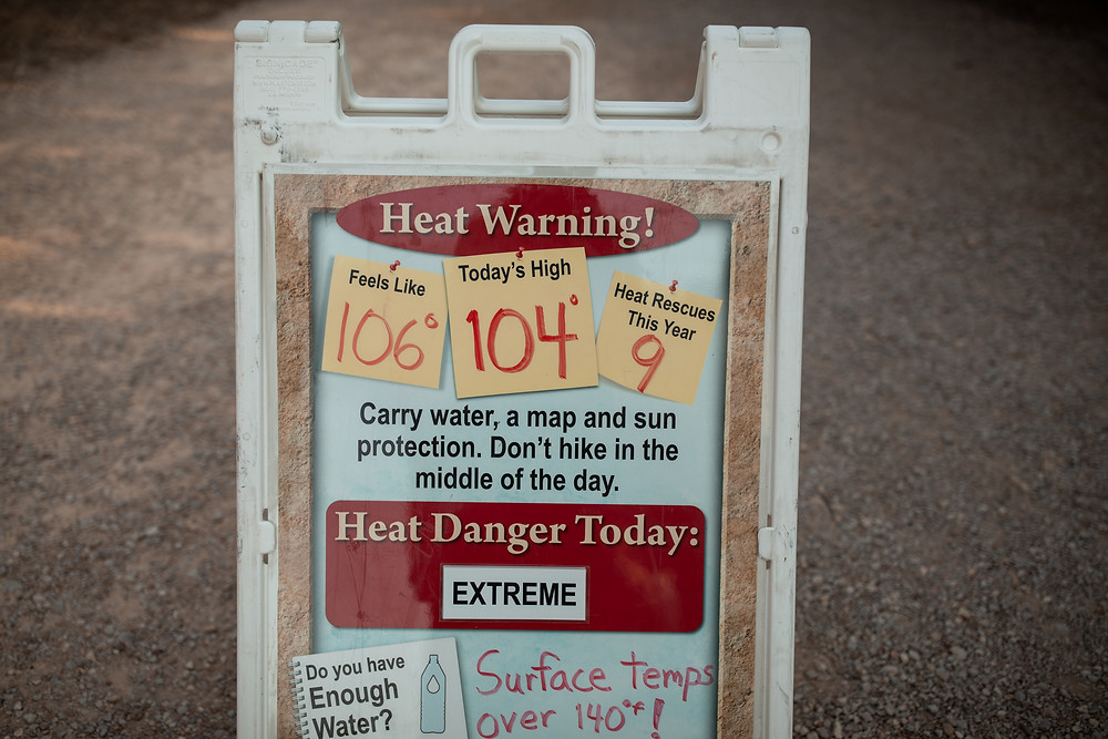 a state park warning about heat in Texas