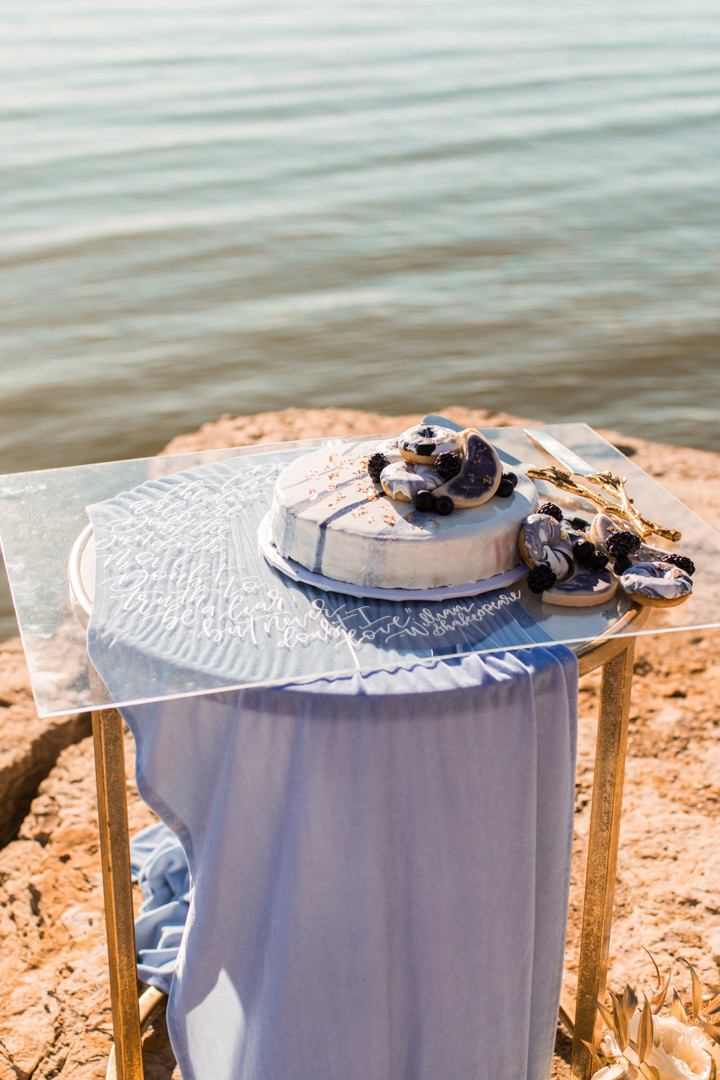 A cake for a texas lakeside adventure elopement