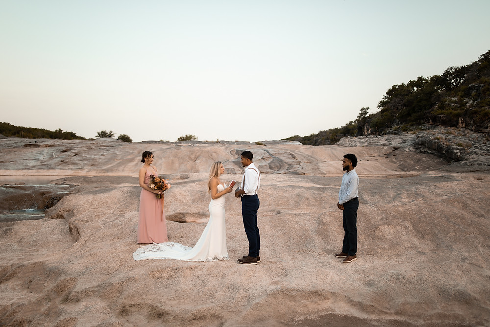 WEdding ceremony at a texas state park