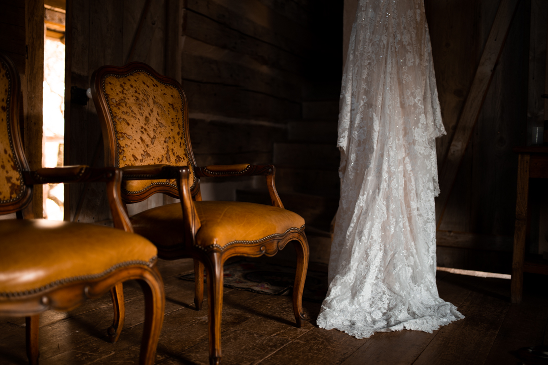 Wedding dress hanging in Cabin