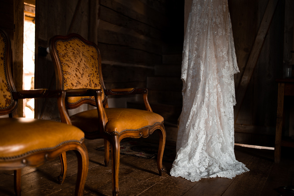 A rental cabin and wedding dress on a couples elopement day