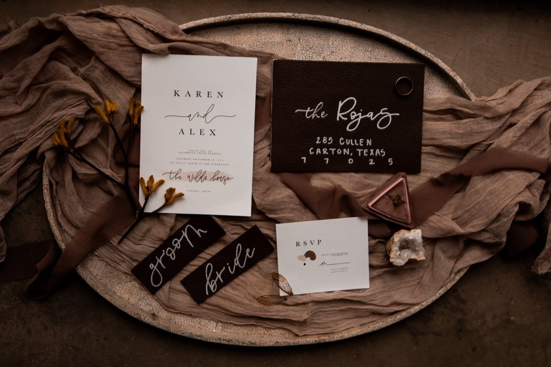 Earthy invitation suite for a moody fall wedding in Texas