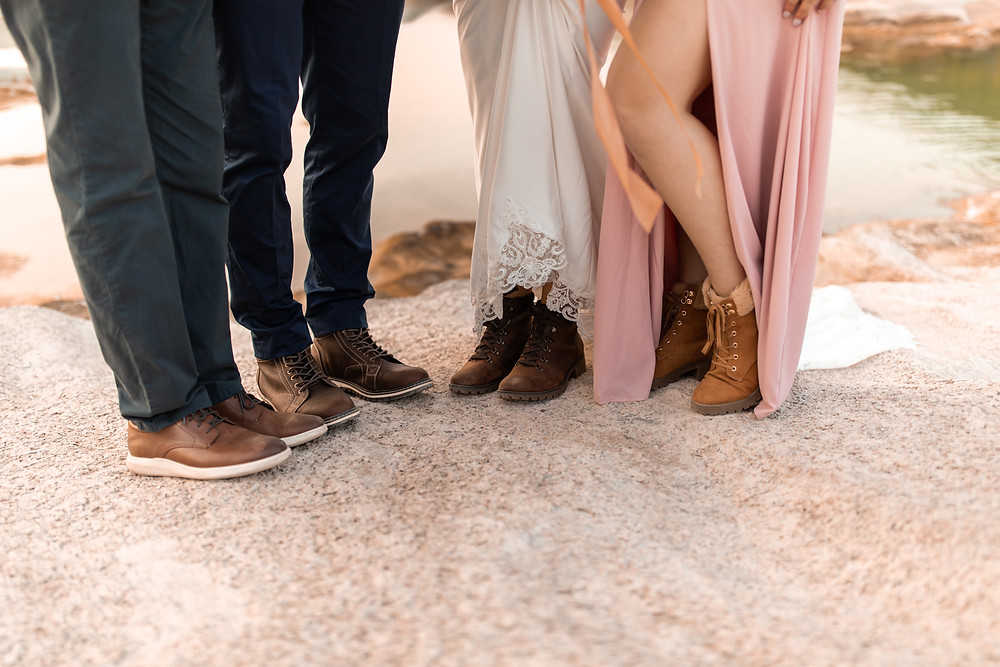 A wedding parties hiking boots during a Texas adventure wedding