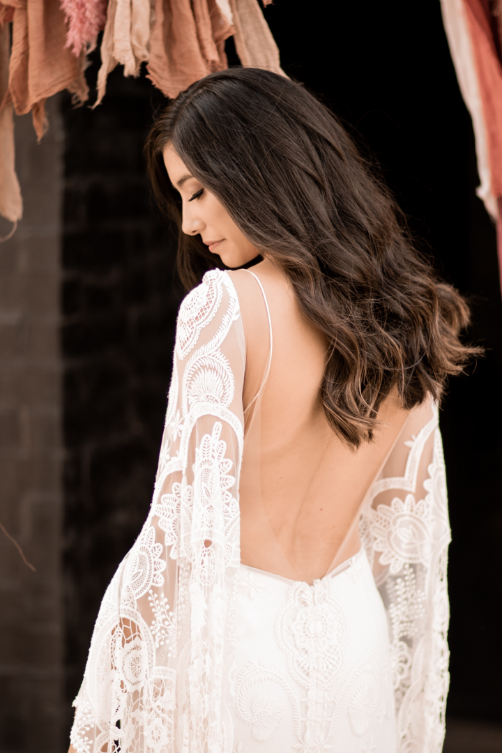 Bridal portraits wearing a Sia dress by Rue de Seine in Texas