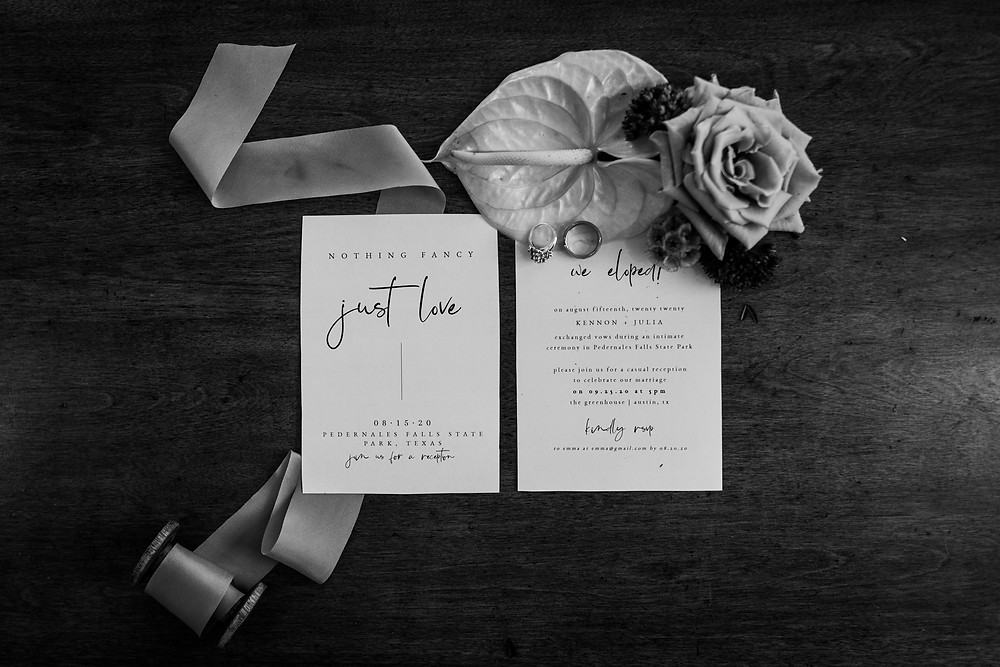 Elopement announcements for a Texas elopement