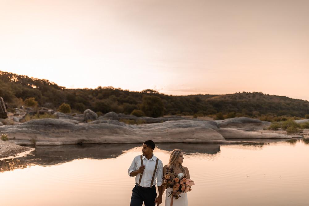 Couple eloping at pedernales falls state park